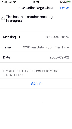 Host in another meeting msg