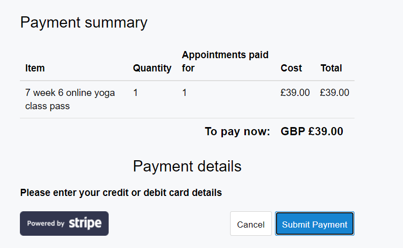 image of no payment details entry option